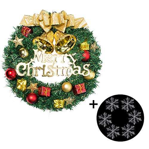 Fanng Merry Christmas Wreaths 12inch Handmade Christmas Garlands with Red Bowknot, Golden Bell and for Indoor Outdoor Door Wall Ornament Window Home Christmas Festival Decor (Gold Christmas Wreath) (Wreath A Decorating For Christmas)