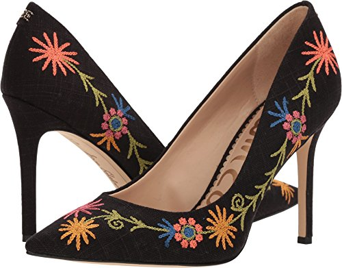(Sam Edelman Women's Hazel 4 Black/Black Multi Embroidery Kid Suede Leather 7 W US)