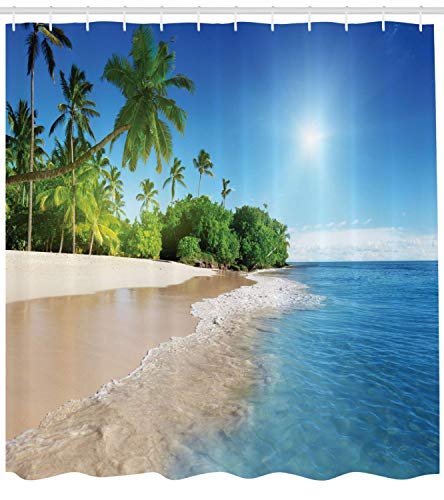 - Blue Shower Curtain Ocean Tropical Palm Trees on Sunny Island Beach Scene Panoramic View Picture Cloth Fabric Bathroom Decor Set with Hooks Long Blue Green White 84