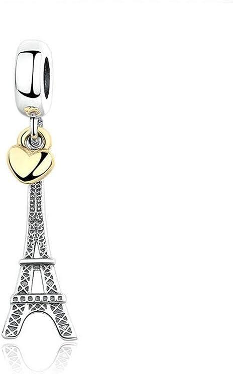 Silver Plated Eiffel Tower Dangle Charm fits European Charm Bracelets Gift Bag