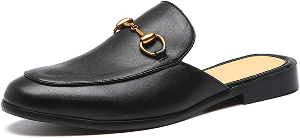 NXY Men's Slip-on Mule Loafer Leather Backless Casual Dress Slippers