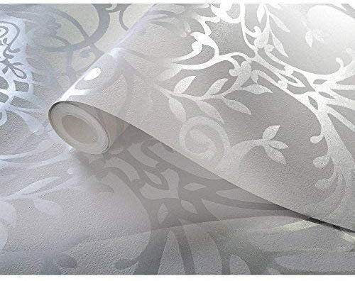 Holden Decor Holden 50011 color plateado dise/ño floral de damasco Papel pintado con textura met/álica