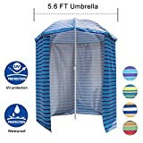 Sundale Outdoor 5.6 Feet Sand Anchor Beach Umbrella Market with Drape, Side Panel and Push Button Tilt, 8 Steel Ribs, Heavy Duty Canopy Waterproof, UV Resistance, Heat Insulating (Ocean Stripe)