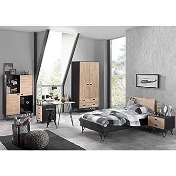 Lomadox Jugendzimmer Komplettset massiv schwarz, Birke massiv natur ...