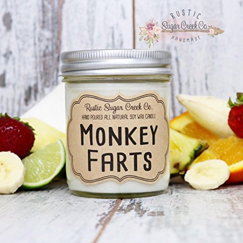 Monkey Farts Scented Candle, Soy Wax Candle, Scented Candle, Mason Jar Candles, Gifts Under 20, Candles, Monkey Farts, Fruit Punch Candle