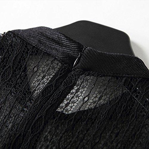 De Pana ZHUDJ Primavera Con Mangas End black High Slim Costuras Pequeñas Vestido qgwx6nEBwU