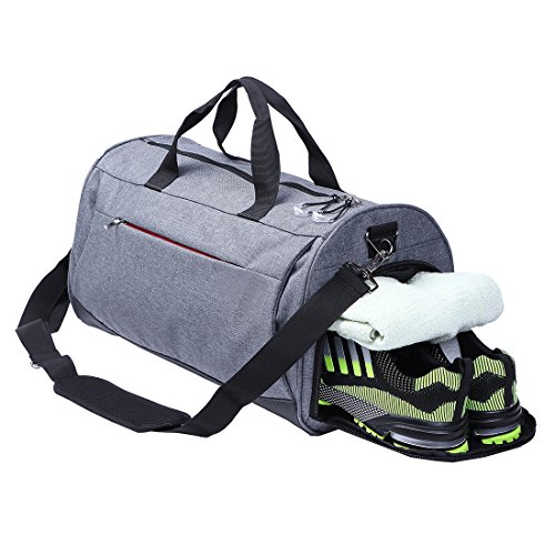 AiiGoo Sports Gym Bag Waterproof with Shoes Compartment Large Capacity Travel Duffel Bag (Grey)