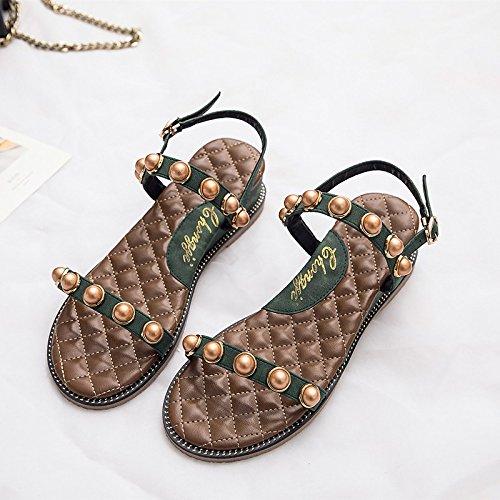 treinta perlas de y cómodas Verde verano planas Sandalias cinco mujeres y T8x5w7qd