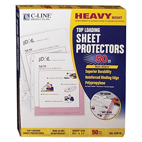 C-Line Top Loading Heavyweight Poly Sheet Protectors, Non-Glare, 8.5 x 11 Inches, 50 per Box (Non Glare 50 Box)