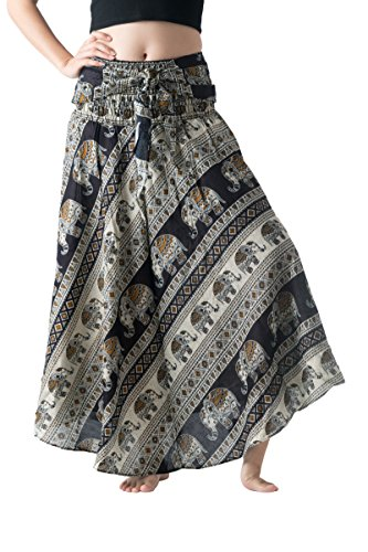 Bangkokpants Women's Long Bohemian Hippie Skirt Boho Dresses Elephant One Size Asymmetric Hem Design (Hippie Elephant Black, Plus Size)