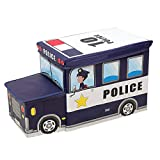 Viyor shop Collapsible Storage Organizer,Police Car Folding Storage Ottoman Seat Kids Toy Books Box for Bedroom (Navy Blue)
