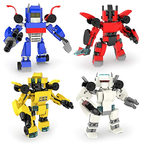 4-in-1 Transforming Toys & Race Car, Building Blocks Toys for Boys, 504 PCs Building Bricks Robot Set for Kids, Goodie Bags Fillers, Carnival Prizes, Treasure Box Prizes for Classroom