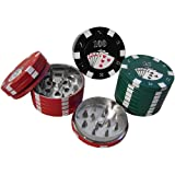 POKER CHIP HERB GRINDER 3PCS ASSORTED COLORS PACK OF 1