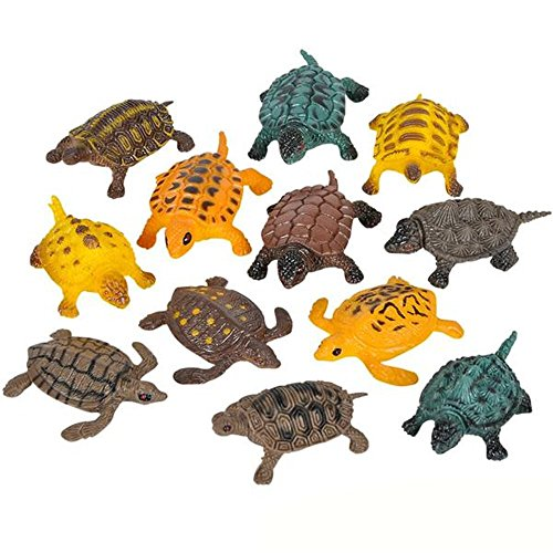 Kidsco Small Turtle Baby Bath Toys - 12 Pieces of Assorted Plastic Tortoises - Ponds and Aquarium Decorations, Indoor and Outdoor Accents, Kids Pet Collection, Party Favors ()