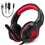 Gintenco Xbox One PS4 Gaming Headset Foldable Ear Headphones with Microphone and LED Lights Surround Stereo Volume Control Headsets for PC Laptop Mac Nintendo Switch Game (Red)
