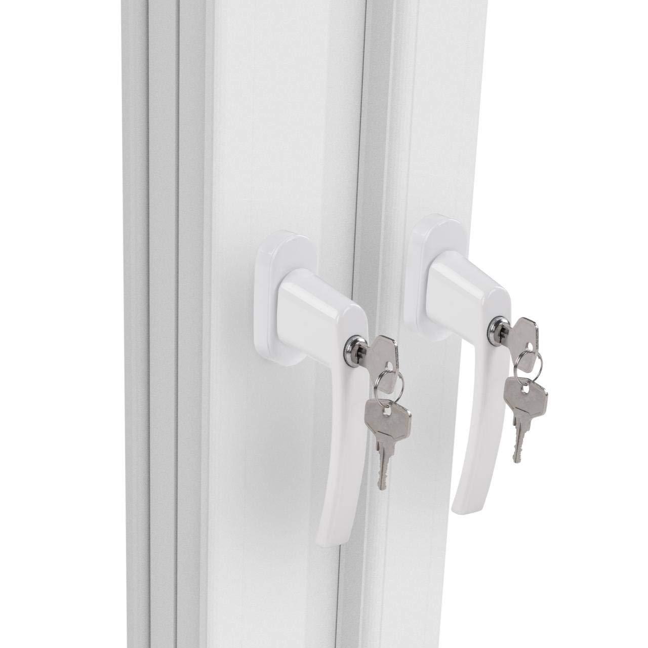 6 St/ück Abschlie/ßbare Fenstergriffe Sicherheitsfenstergriff Kindersicherung Einbruchschutz Weiss