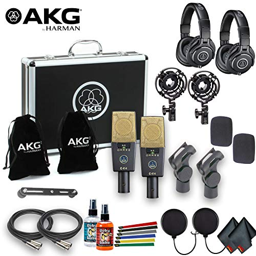 (AKG C414 XLII ST Multi-Pattern Large-Diaphragm Condenser Microphone (Matched Pair) With 2 ATH-M40x Professional Headphones, XLR Cables, Pop Filters, Wire Straps, and Cleaning Kit)