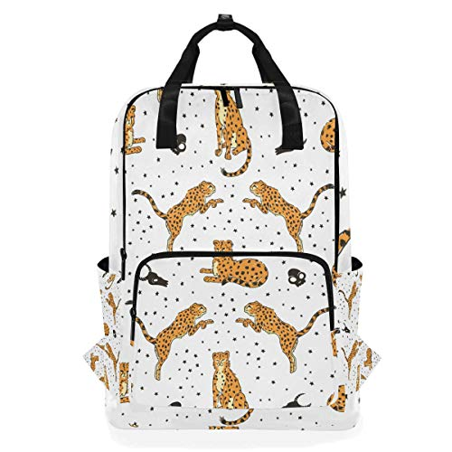 Cartoon Leopard Cow Skull Polka Dot Cute Animal Backpack School Travel Daypack Laptop College Bookbag 14 Inch Doctor Bag