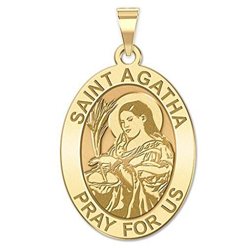 Saint Agatha Religious Oval Medal - 1/2 Inch X 2/3 Inch - Solid 14K Yellow Gold 14k Yellow Gold Medal