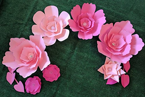 Paper Flowers Combo Set for Backdrops - Pink Fading Tones - Includes 7 Paper Flowers and 6 Paper Leaves - Fully Assembled - Ready to Use