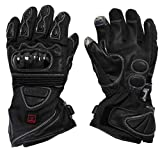 VentureHeat 12V Heated Carbon Fiber Knuckle Motorcycle Gloves (Black, Large)