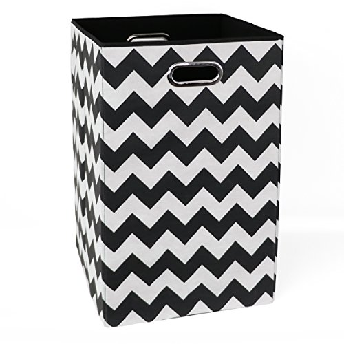 Modern Littles BLDLAUN101 Bold Chevron Folding Laundry Basket Black