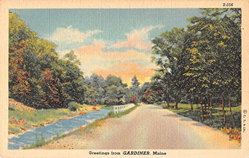 - Gardiner Maine Country Road Greetings Linen Antique Postcard J77042