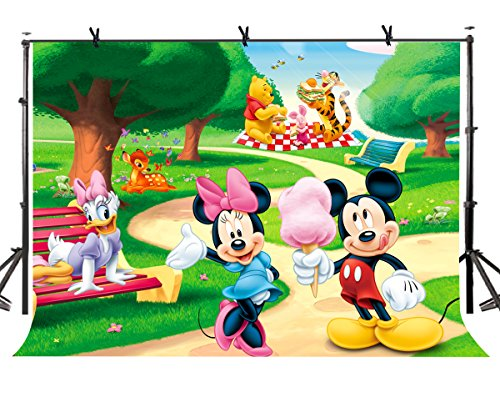 Mickey Mouse Background - LYLYCTY 7x5ft Mickey Mouse Backdrop Cute Children's Animation Photographic Background and Studio Photography Backdrop Props LYHUI149