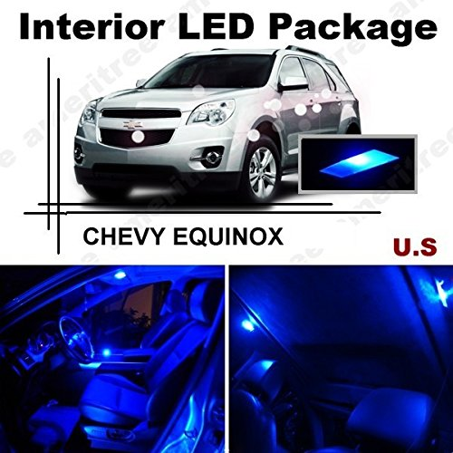 Ameritree Blue LED Lights Interior Package + Blue LED License Plate Kit for CHEVY Equinox 2010-2015 (11 Pieces)