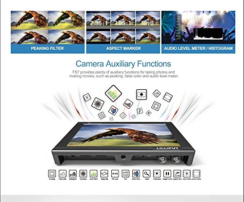 LILLIPUT FS7 7'' Full HD Camera Monitor with 3G-SDI and 4K HDMI Metal Housing High Resolution F970 Plate for Camcorder DSLR by Lilliput (Image #3)