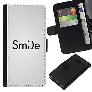 Supergiant (Smile Smiley Emoticon Inspiring Text White) Dibujo PU billetera de cuero Funda Case Caso de la piel de la bolsa protectora Para Samsung Galaxy Core Prime / SM-G360