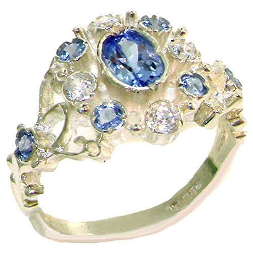 LetsBuyGold 14k White Gold Natural Tanzanite and Diamond Womens Cluster Ring (0.15 cttw, H-I Color, I2-I3 Clarity) ()
