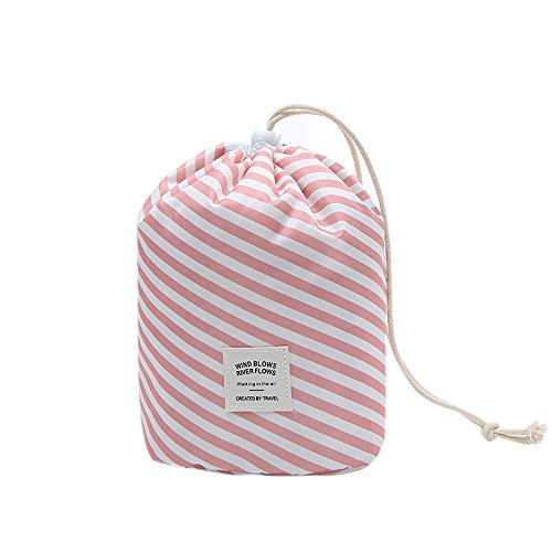 Ochioly Toiletry Bag Travel Makeup Bag Men Women Hanging Wash Bags Large Capacity Drawstring Cosmetic Make up Bag Blue + Mini Pouch + Clear PVC Brush Bag (Pink Stripes) by Ochioly