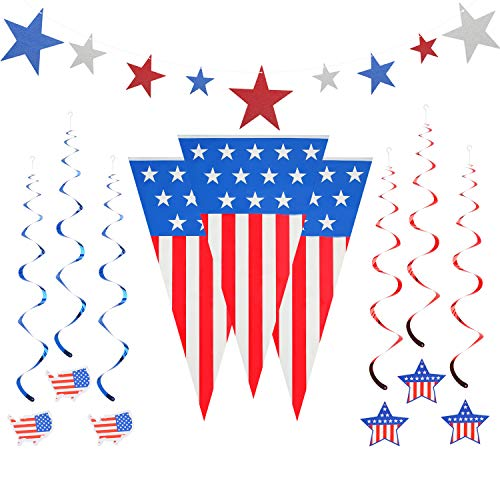 (BUMBUMBEE 4th of July Patriotic Decorations Patriotic(24 Feet), Outdoor Indoor Party Supply Decor Independence Day Decorations Foil Streamers, Star Swirl Hanging Decorations (Red, White, Blue), American Flag Party)