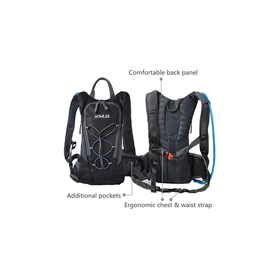 Hydration Pack Recreational Backpack with 2L BPA Free Water Bladder Bag Lightweight Outdoor Products Tactical Survival Reservoir for Marathon Hiking Camping Cycling Sports Fits Men Women Kids Children