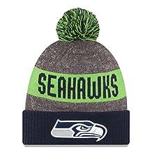 New Era Knit Seattle Seahawks Biggest Fan Redux Sport Knit Winter Stocking Beanie Pom Hat Cap NFL