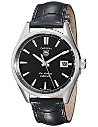 TAG Heuer Men's WAR211A.FC6180 Carrera Calibre 5 Analog Display Analog Quartz Black Watch