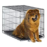 """New World 36"""" Folding Metal Dog Crate, Includes Leak-Proof Plastic Tray; Dog Crate Measures 36L x 23W x 25H Inches, Fits Intermediate Dog Breeds"""