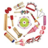 B Blesiya 17 KINDS 22 PCS Musical Toys Kids Instruments Percussion Rhythm Toy Sand Egg & Castanet & Tambourine & Harmonica & Crow Sounder etc. - Red, as described