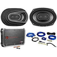 "(2) Polk Audio MM692 6x9"" 900w 3-Way Car Audio/Marine Speakers+2-Ch Amp+Wire Kit"