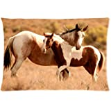 Funny Galloping horse Pillowcase - Pillowcase with Zipper Pillow Protector, Best Pillow Cover - Standard Size 20x30 inches,Twin sides Print