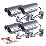 Fitnate Dummy Security Camera, Fitnate 4 Packs Fake Security Camera CCTV Surveillance System with LED Red Flashing Light for Both Indoor & Outdoor Use + Security Camera Warning Stickers × 4 (Sliver)