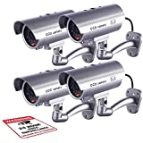 Dummy Security Camera, Fitnate 4 Packs Fake Security Camera CCTV Surveillance System with LED Red Flashing Light for Both Indoor & Outdoor Use + Security Camera Warning Stickers × 4 (Sliver)