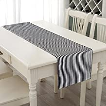 AerWo 14*72inch Table Runner Black and White Striped Table Runner Wedding Party Dinner Parties decorations Halloween Party Table Runners