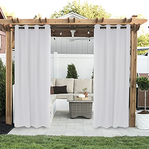Drewin Outdoor Waterproof Curtains for Porch 1 Panel Windproof Weather Resistant Blackout Curtain Privacy Drapes Indoor Gazebo Cabana Pergola Sunroom Decor, Greyish White 100x84 Inches