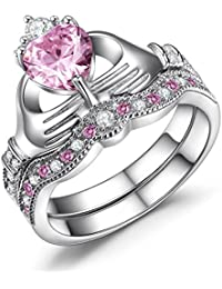 Sterling Silver Claddagh Ring, Heart Shaped Simulated Pink Sapphire Engagement Wedding Ring Sets