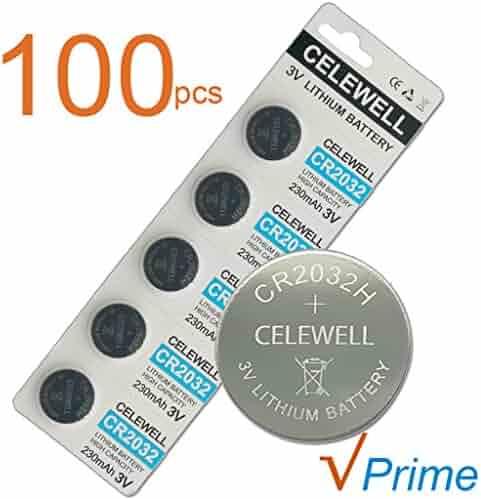 CELEWELL 100 Pack CR2032 3V Lithium Battery Bulk CR 2032 Coin Cell