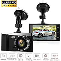 Full HD 2K 1296P Dash Cam 4.0 Inch Screen Car DVR 170 Degree Wide Lens Angle Dash Camera Recorder Support ADAS, Night Vision, WDR, Parking Guard, Loop Recording (Black)