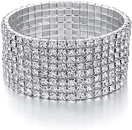 5805966ee Zstyle Jewelry Rhinestone Stretch Bracelet Silver-Tone Wedding Tennis  Bracelet Sparkling Bridal Bangle Ankelt,