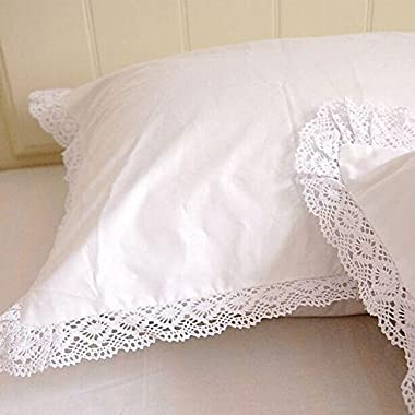 Pair of Shabby and Elegant White Lace Cotton Pillowcase Pillow Sham 1104